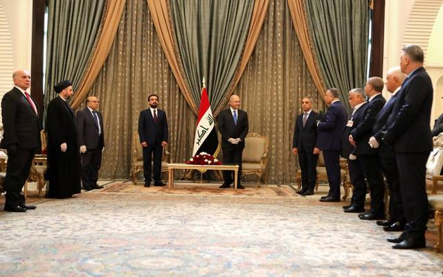 جانب من مراسم تكليف الرئيس العراقي لمصطفى كاظمي بتشكيل الحكومة الجديدة