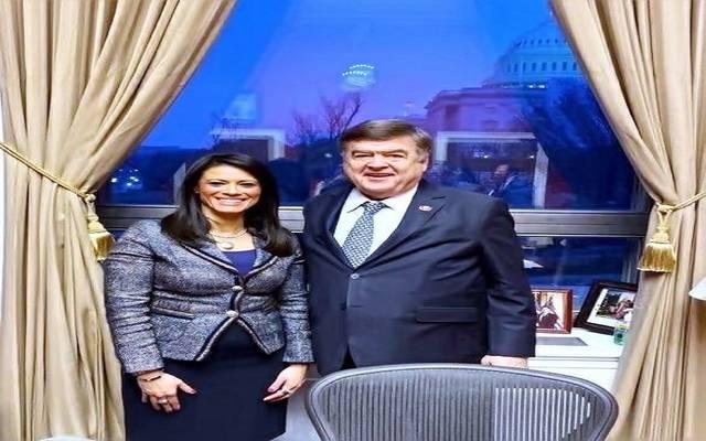 جانب من لقاءات الوزيرة في واشنطن