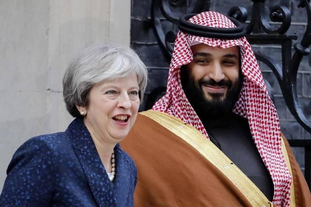 Saudi Crown Prince Mohamed Bin Salman with UK Prime Minister Theresa May