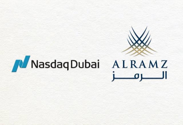 صورة تحمل شعار شركة الرمز وشعار بورصة ناسداك دبي