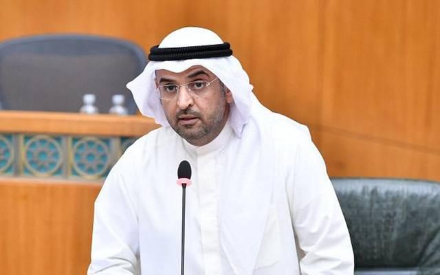 وزير المالية الكويتي نايف الحجرف، خلال جلسة الاستجواب اليوم بمجلس الأمة