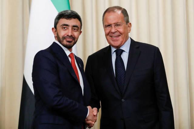 سيرجي لافروف وزير خارجية روسيا - ووزير الخارجية والتعاون الدولي الإماراتي الشيخ عبد الله بن زايد