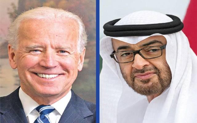 جو بايدن الرئيس المنتخب في الولايات المتحدة وولي عهد أبوظبي الشيخ محمد بن زايد
