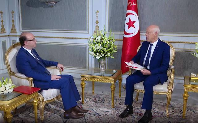 جانب من لقاء الرئيس التونسي قيس سعيد مع إلياس الفخفاخ، المكلف بتشكيل الحكومة