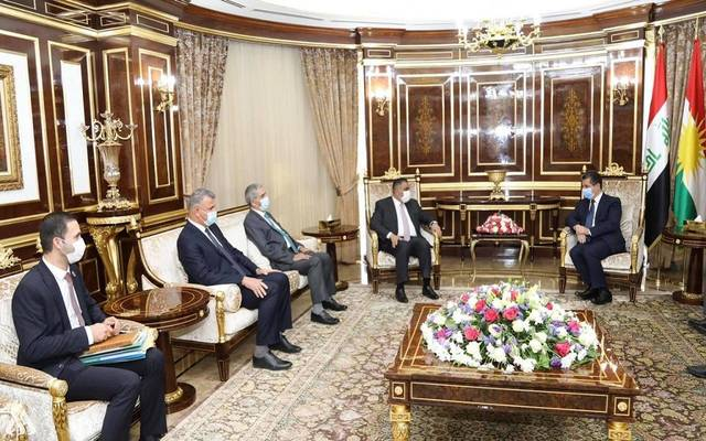 جانب من لقاء محافظ المركزي العراقي مع رئيس حكومة كردستان