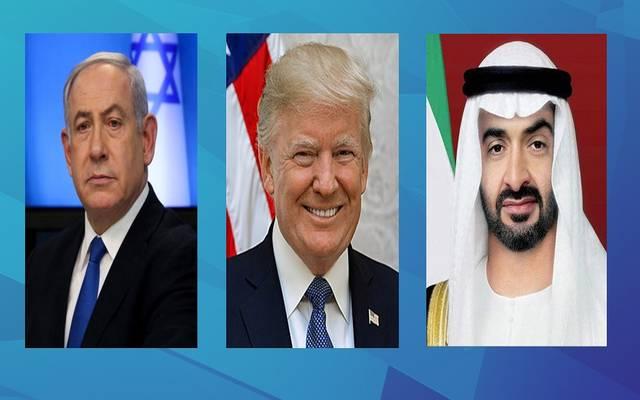 دونالد ترامب والشيخ محمد بن زايد آل نهيان و بنيامين نتنياهو