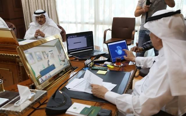 """وزير البيئة والمياه والزراعة السعودي، عبد الرحمن الفضلي، خلال تدشين """"منصة مجموعة العشرين للمياه"""""""