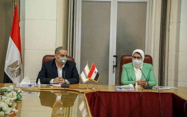 هالة زايد وزيرة الصحة المصرية خلال مؤتمر عقد اليوم الأحد