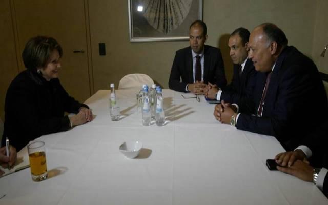 وزير الخارجية خلال لقاء رئيسة  لوكيد مارتن الأمريكية