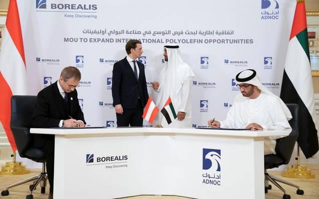 جانب من توقيع الاتفاقيات بحضور ولي عهد أبو ظبي ومستشار النمسا