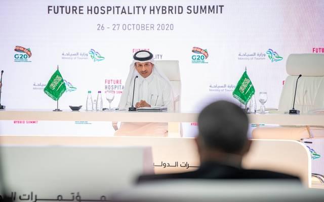 """وزير السياحة السعودي، أحمد الخطيب، خلال انطلاق مؤتمر """"مستقبل الضيافة"""""""