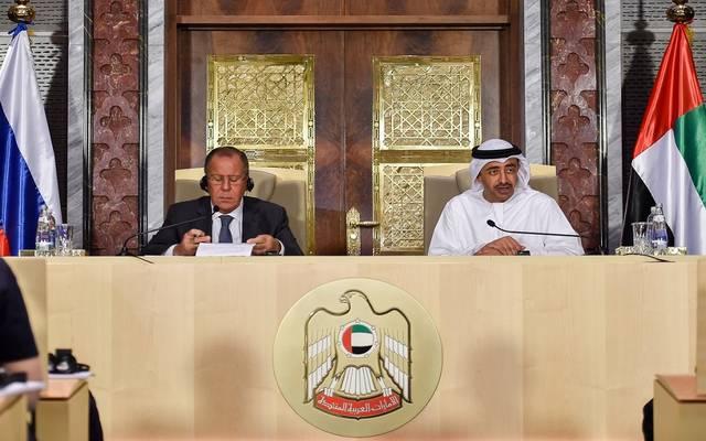 المؤتمر الصحفي بين وزير الخارجية الإماراتي ونظيره الروسي