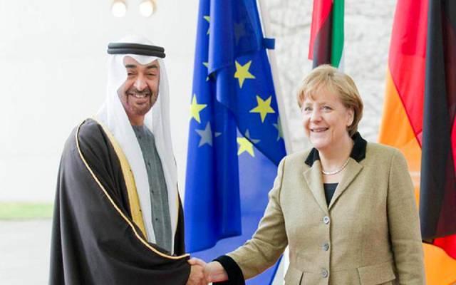 ولي عهد أبوظبي مع المستشارة الألمانية- صورة أرشيفية