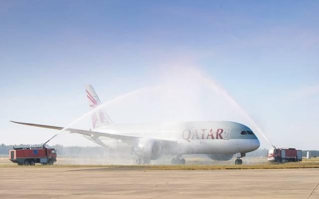 لحظة وصول طائرة الخطوط الجوية إلى ثالث وجهاتها في المغرب