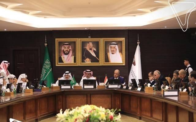 رئيس مجلس الغرف السعودية سامي العبيدي والأمين العام للمجلس سعود المشاري خلال لقاء وفد اتحاد الصناعات المصرية