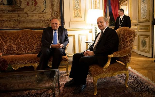 وزير الخارجية المصري سامح شكري ونظيره الفرنسي