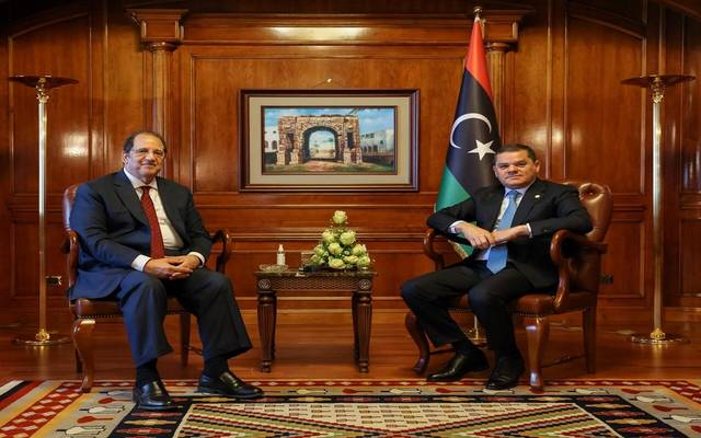 جانب من زيارة  عباس كامل رئيس المخابرات العامة المصرية إلى ليبيا