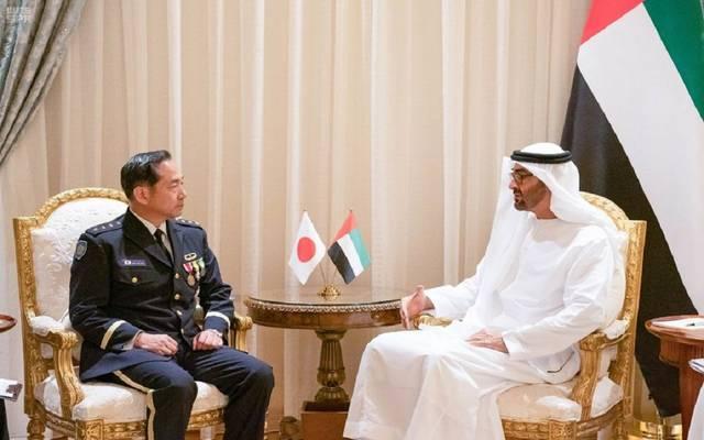 ولي عهد أبوظبي خلال لقاء رئيس أركان القوات اليابانية المشتركة
