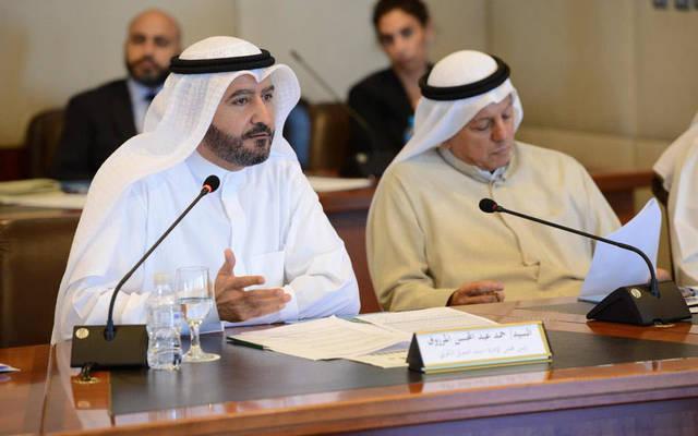 """حمد عبدالمحسن المرزوق، رئيس مجلس إدارة """"بيتك""""، خلال إلقاء كلمته في الندوة"""