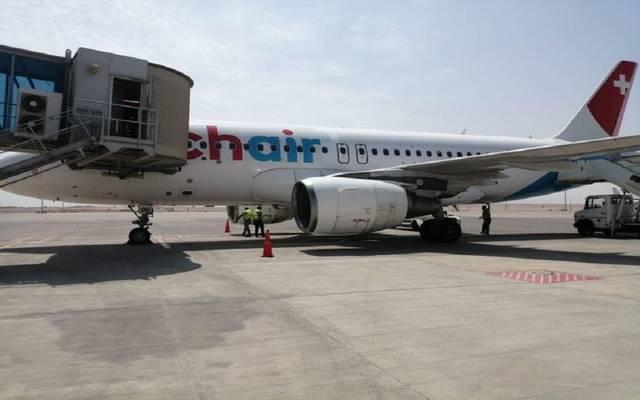 أولى رحلات شركة Chair airline السويسرية القادمة من مدينة زيورخ
