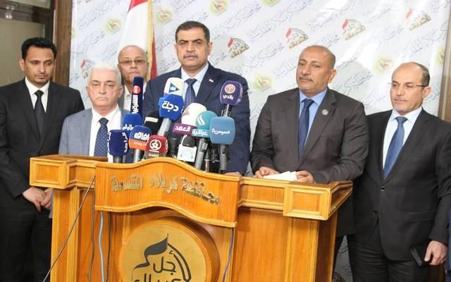 وزير الدفاع نجاح الشمري خلال مؤتمر في محافظة كربلاء