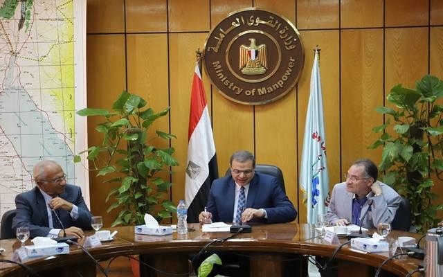 جانب من الاجتماع بمقر وزارة القوى العاملة