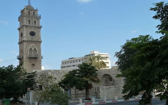 برج الساحة بمسجد الجرينة بمدينة حيفا الفلسطينية ويعود للعهد العثماني وولايته للقدس