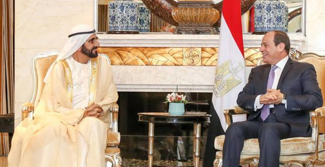 بالصور.. مباحثات نائب رئيس الإمارات مع الرئيس المصري بالصين