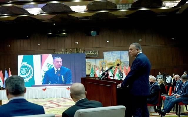 رئيس مجلس الوزراء العراقي، مصطفى الكاظمي، خلال مؤتمر استرداد الأموال المنهوبة بالفساد