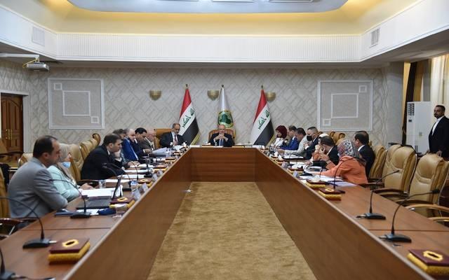 جانب من اجتماع وزير المالية بحضور مستشار رئيس الوزراء والمدير التنفيذي للجنة الإصلاح الاقتصادي