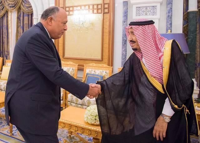 جانب من لقاء الملك سلمان بوزير الخارجية المصري سامح شكري