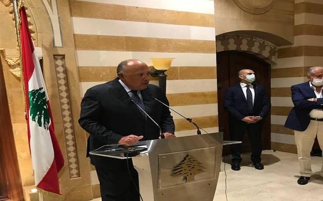 وزير الخارجية المصري سامح شكري خلال المؤتمر