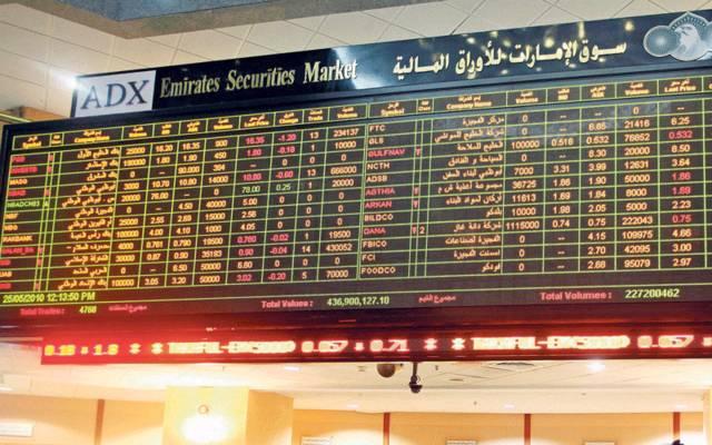 شاشة التداول في مقر بورصة أبوظبي