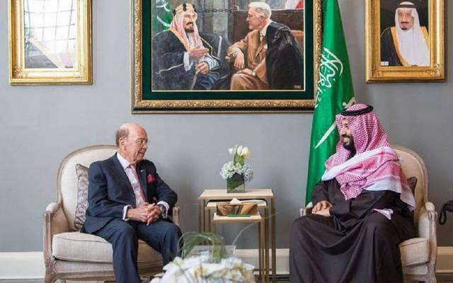 """ولي العهد السعودي مع وزير تجارة الولايات المتحدة """"ويلبر روس"""""""