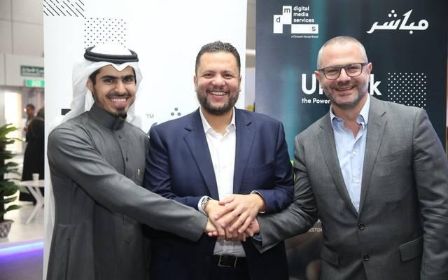 خالد البلاع عضو مجلس إدارة مجموعة مباشر المالية- وعاصم البصال- وميشيل مالكون