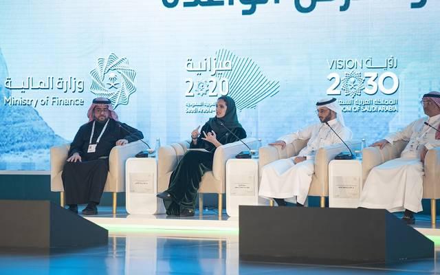 نائب رئيس هيئة السياحة والتراث الوطني السعودية، الأميرة هيفاء بنت محمد آل سعود، خلال مشاركتها في مؤتمر ملتقى الميزانية بوزارة المالية السعودية