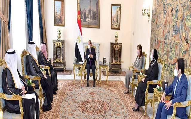 خلال اجتماع الرئيس السيسي مع  ماجد بن عبد الله القصبي وزير التجارة بالسعودية