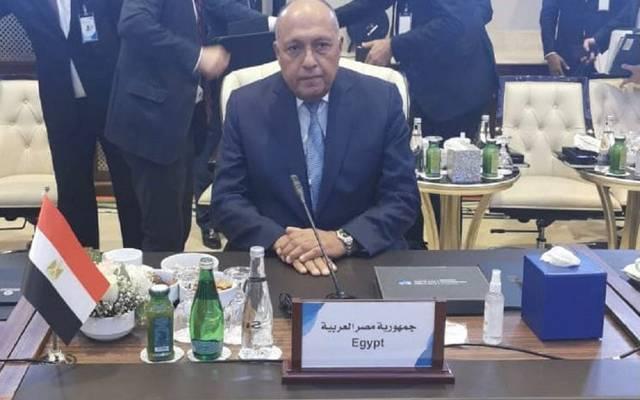وزير الخارجية سامح شكري خلال مؤتمر دعم استقرار ليبيا
