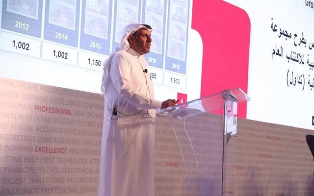 الرئيس التنفيذي لشركة مجموعة الدكتور سليمان الحبيب الطبية، ناصر الحقباني، في مؤتمر الإعلان عن الطرح