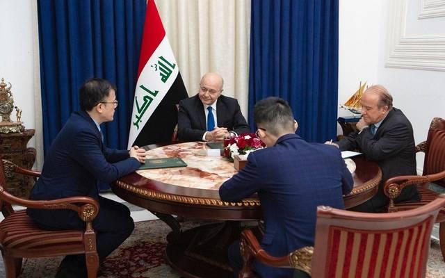 استقبال الرئيس العراقي، برهم صالح، السفير الصيني لدى بغداد في قصر السلام