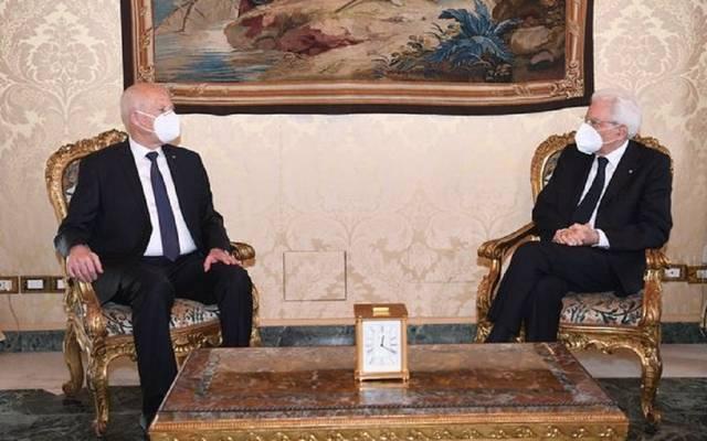 قيس سعيد رئيس تونس مع  نظيره الإيطالي سارجيو ماتاريلا