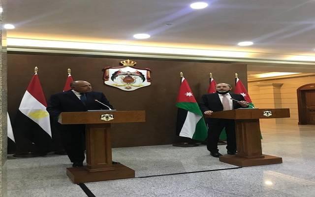 خلال المؤتمر الصحفي المشترك لكل من وزير الخارجية المصري ونظيره الأردني
