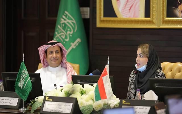 خلال كلمة وكيل وزارة التجارة والصناعة وترويج الاستثمار بسلطنة عمان أصيلة بنت سالم الصمصامية باتحاد الغرف السعودية