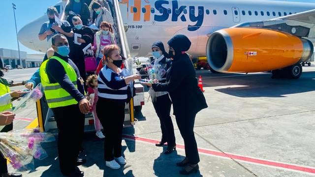 """صورة لأولى رحلات شركة """"هاي سكاي"""" إلى مطار الغردقة الدولي"""