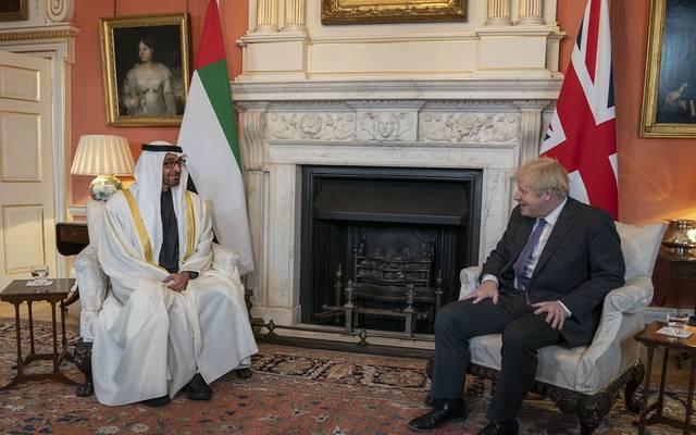 """خلال زيارة إلى بريطانيا.. محمد بن زايد و""""جونسون"""" يبحثان علاقات التعاون الثنائي"""