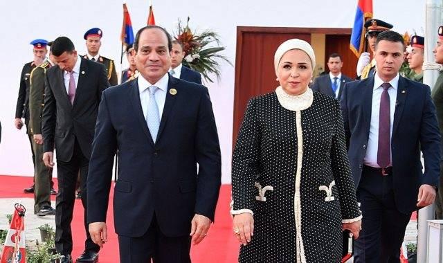 جانب من وصول الرئيس عبدالفتاح السيسي وقرينته إلى ملتقى الشباب العربي والأفريقي