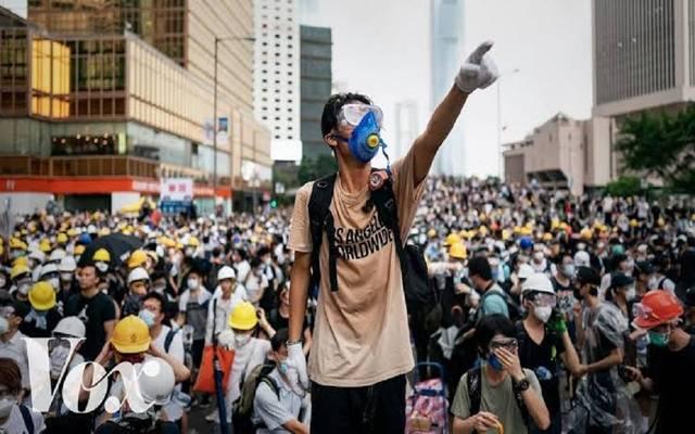 صورة من المظاهرات في هونج كونج