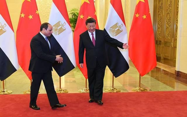 الرئيس الصيني خلال استقبال الرئيس السيسي ببكين