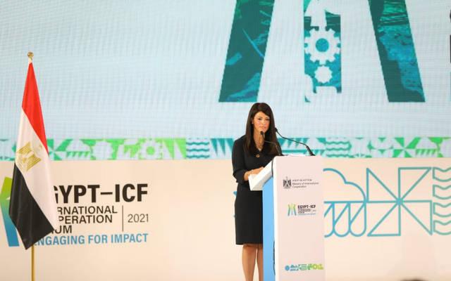 رانيا المشاط، وزيرة التعاون الدولي خلال فاعليات مُنتدى مصر للتعاون الدولي والتمويل الإنمائي