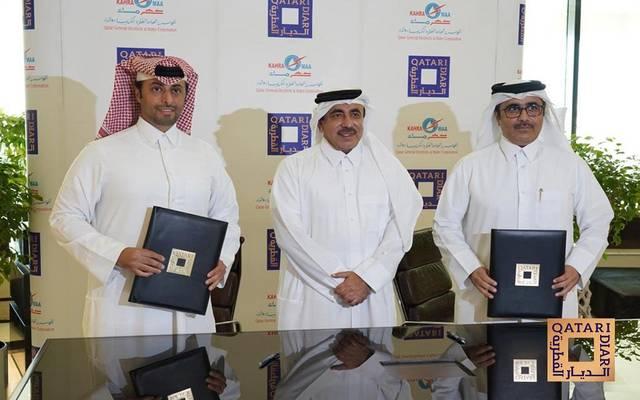 خلال توقيع مذكرة التفاهم بحضور وزير المواصلات والاتصالات القطري جاسم السليطي